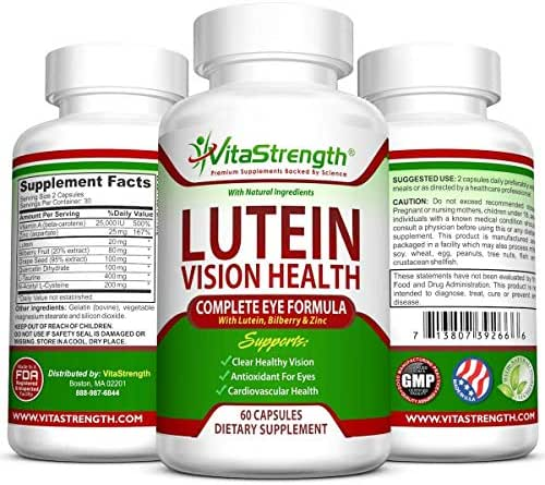 Vision Health Complete Eye Formula with Essential Vitamins for Eyes - with 20mg Lutein Plus Bilberry, Zinc and Other Eye Care Nutrients - Lutein for Eyes - 60 Eye Vision Capsules