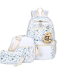 ABage Girls Canvas Backpack Set 3 Pieces Patterned Bookbag Laptop School Backpack