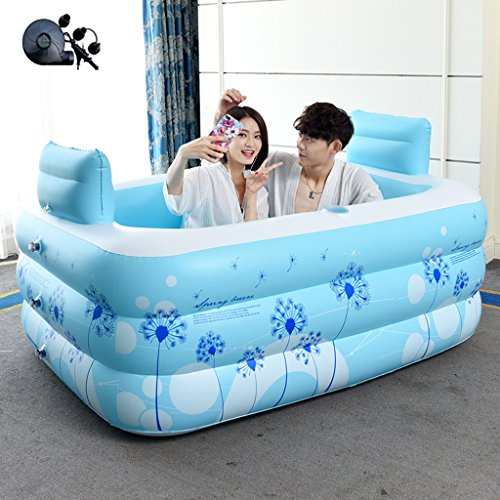 Bathtubs Freestanding Inflatable Bath Tub Adult Tub Stylish Home Bath Comfortable Folding Bath Tub Passion Double Couple Inflatable Blue Inflatable, Relieve Fatigue by Bathtubs (Image #1)