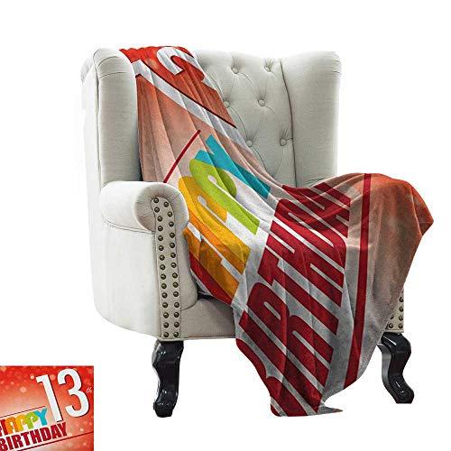 (BelleAckerman Swaddle Blanket 13th Birthday,Retro Style Teenage Party Invitation Graphic Design with Bokeh Effect Rays, Multicolor Velvet Plush Throw Blanket 30