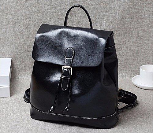 Leder Double Shoulder Bag Double Shoulder Bag Frauen minimalistischen College Freizeit Rucksack, 31 * 12 * 34 cm Schwarz