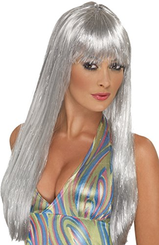 [Smiffy's Women's Long Silver Wig with Bangs, One Size, Glitter Disco Wig, 5020570421666] (Party Glitters Costumes)