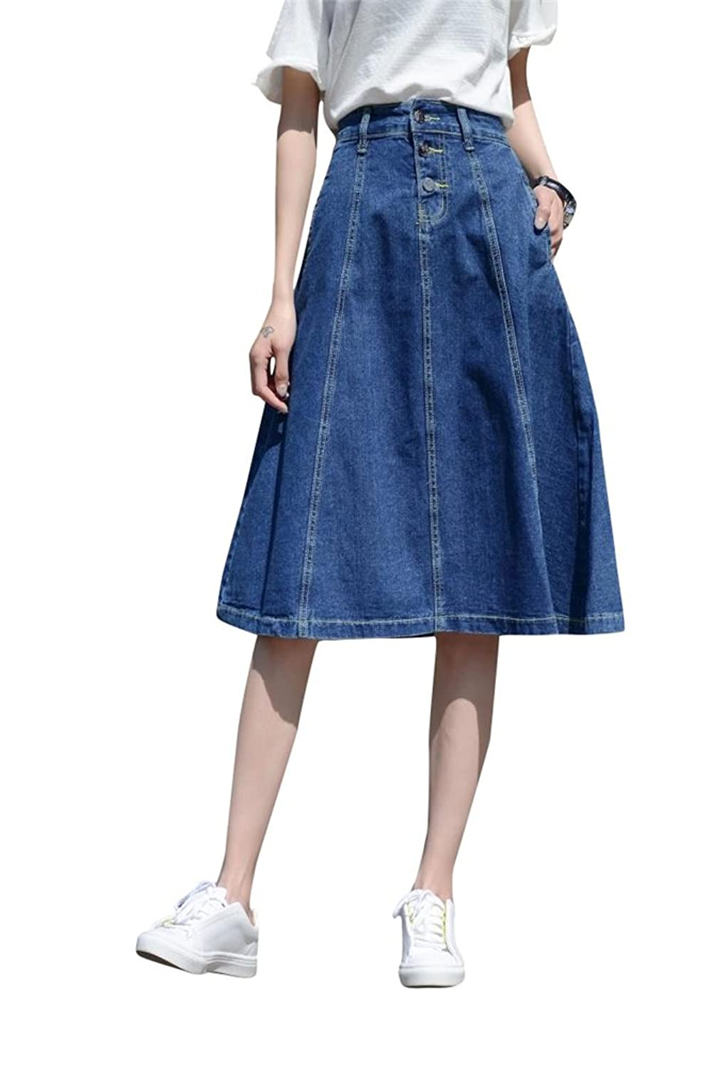 ACE SHOCK Women's A-Line High Waist Slim Fit Long Full Denim Skirts Plus Size