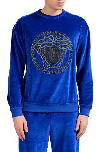 Versace-Mens-Blue-Velour-Crewneck-Long-Sleeve-Sweatshirt-US-2XL-IT-56
