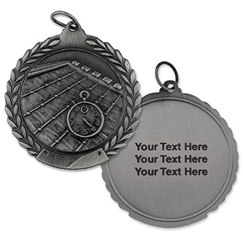 PinMart Engraved Personalized Swimming Sports Medal 2nd Place- Silver