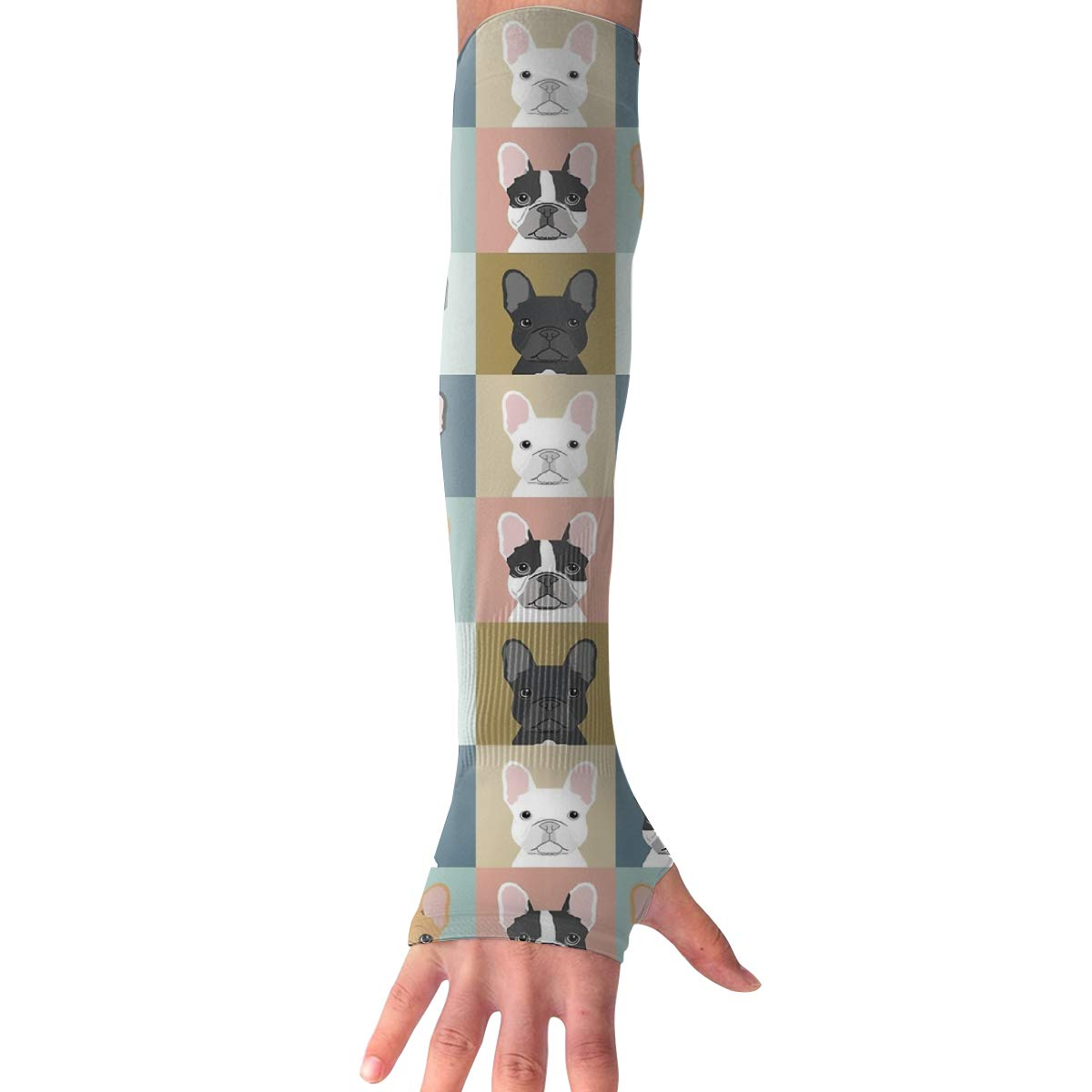French Bulldog Dog Cute UV Sun Protective Outdoors Stretchy Cool Arm Sleeves Warmer Long Sleeve Glove