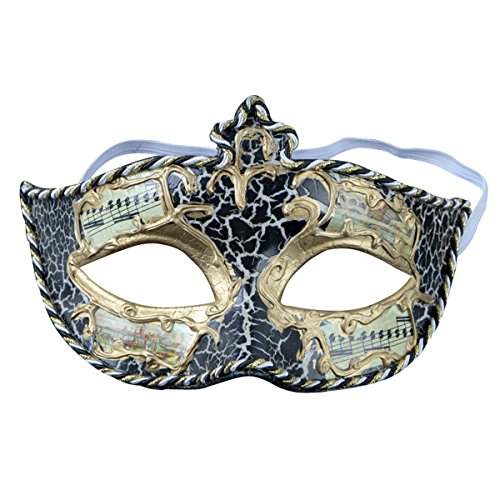 Music Symbol Woen's Mask Party Masquerade Mask Cosplay Venetian Mask, One Size (Black) (Music Masquerade Mask)