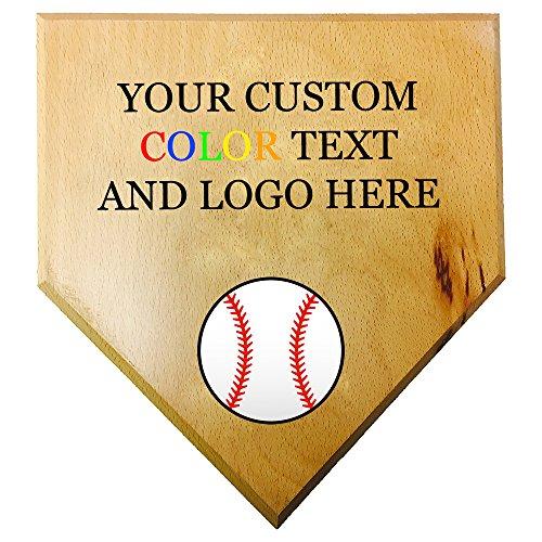 Full Color Personalized Wood Mini Custom Baseball Home Plate Plaque at Wedding Groomsman Favor Ring Bearer Gift