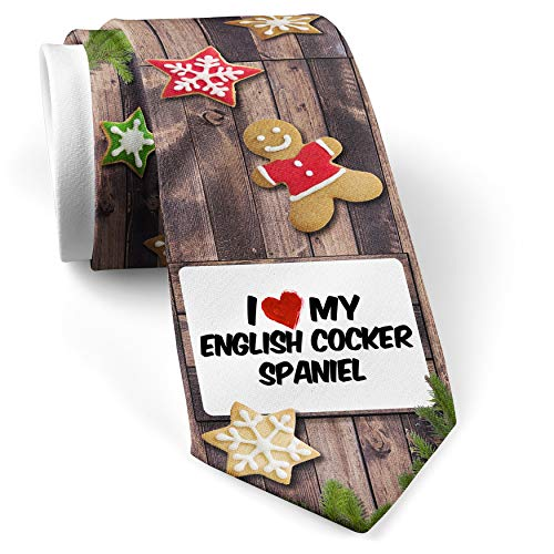 His Christmas NeckTie I Love my English Cocker Spaniel Dog from England cookie wood print