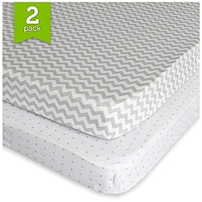 Ziggy Baby Pack N Play Playard Sheet Set Fitted Jersey Knit Cotton Portable Mini Crib Sheets Chevron, Dot, Grey/White, 2 Pack
