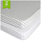 Pack N Play Playard Sheet Set - 2 Pack - Fitted, Soft Jersey Cotton Portable Crib Sheet - Baby Bedding in Grey Chevron & Polka Dot by Ziggy Baby - Best Baby Shower Gift for Boys, Girls, Unisex