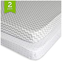 Pack N Play Playard Sheet Set (2 Pack) Fitted Jersey Knit Cotton Portable Min...
