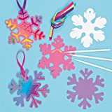Decorazioni scratch art Fiocco di Neve per bambini (confezione da 8)