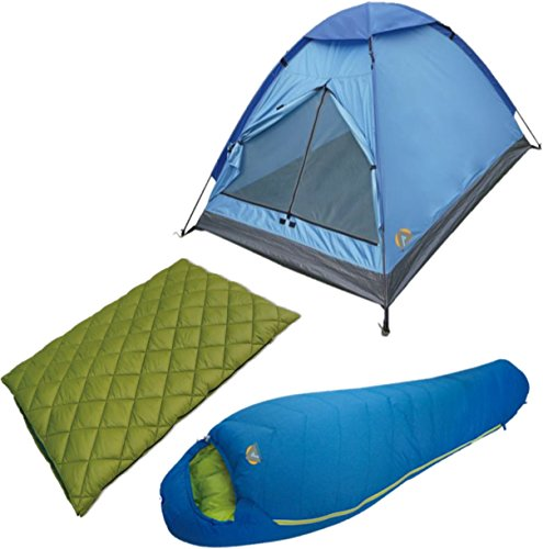 Alpinizmo High Peak USA Florida 20/Summit 20 Sleeping Bag/Monodome 3 Tent Combo Set, Green/Blue, One Size - High Peak Camping Tents