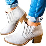 Huiyuzhi Womens Peep Toe Cut Out Ankle Bootie Perforated Low Stacked Sandal
