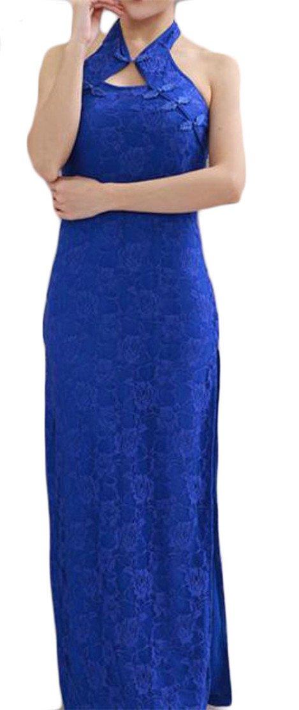 Etecredpow Womens Bodycon Ethnic Style Comfortable Lace Hollow Qipao Slit Dresses Blue2 XXS