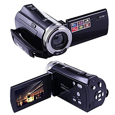 KINGEAR KG005 Mini DV C8 16MP High Definition Digital Video Camcorder DVR 2.7'' TFT LCD 16x Zoom Hd Video Recorder Camera 1280 x 720p Digital Video Camcorder(Black)