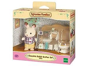 Sylvanian Families - Set hermano conejo de color chocolate y baño (2203)
