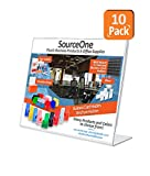 Source One 10 Pack 3-1/2-inch By 2-1/2-inch Slant Back Acrylic Sign Holder