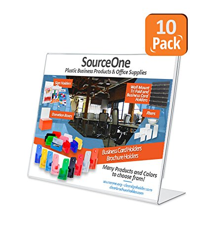 Source One 10 Pack 3-1/2-inch By 2-1/2-inch Slant Back Acrylic Sign Holder by SOURCEONE.ORG