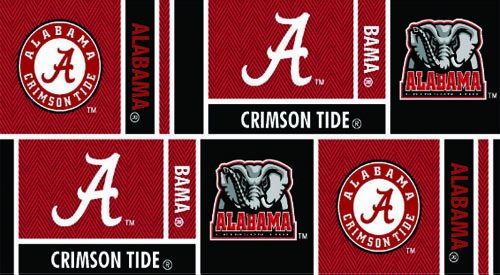 Sykel Enterprises Collegiate Cotton Broadcloth University of Alabama Squares Red/Black Fabric by The Yard,