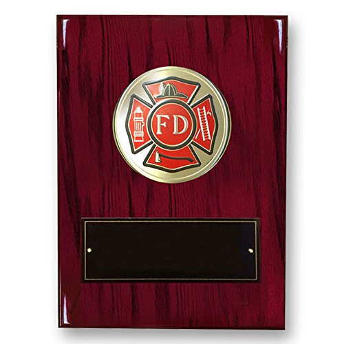 - Customizable 8 x 10 Inch Cherry Piano Finish Plaque with Fire Department Medallion, includes Personalization