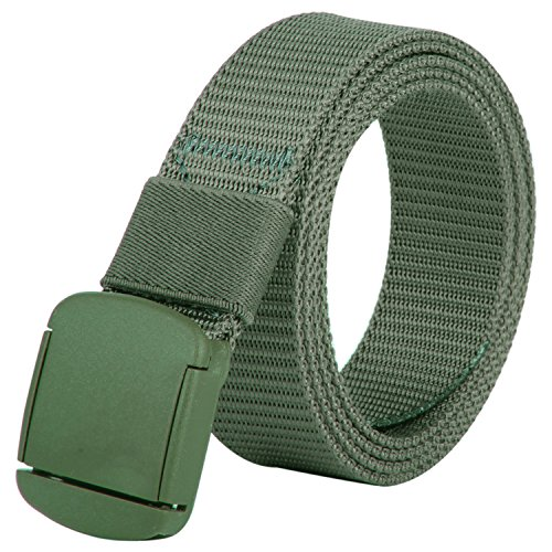 JINIU Nylon Canvas Web Belt Hypoallergenic Metal-free Military Plastic Automatic Buckles Green Color (JNSG12) (Race Solid Heavy Duty)