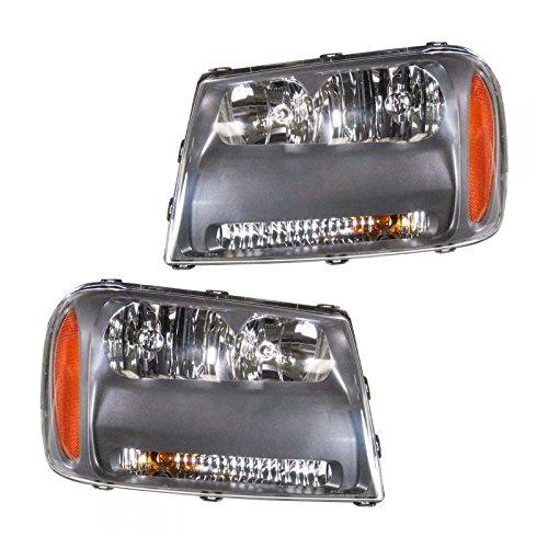 Chevy Chevrolet Blazer Grille Assembly - Headlights Headlamps LH & RH Pair Set for 06-09 Chevy Trailblazer