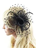 Betty Ladies Black Polka Dot Fascinator Hat with Hair Clip and Feathers and Beads Tea Party Derby Wedding Accessory for Adults Women Teens (Black)