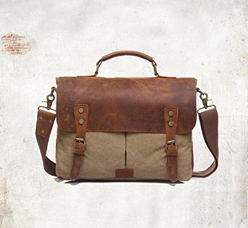 Webla Unisex estilo vintage lona hombro casual escuela mensajero militar bolso de viaje (ejercito verde) Caqui