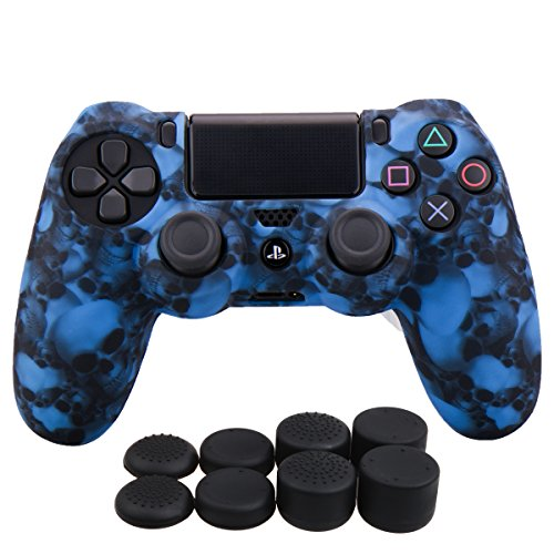 YoRHa Water Transfer Printing Skull Silicone Cover Skin Case for Sony PS4/slim/Pro Dualshock 4 controller x 1(blue) With Pro thumb grips x 8