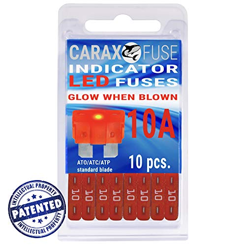 Fuse STANDARD Blade 10A - Smart GLOW Fuse - Car Fuse Automotive ATC/ATO - Fuses Replacement - Easy Identification - Illuminating Indicator Fuse That Glow When Blown - Carax Fuse 10 pcs ()