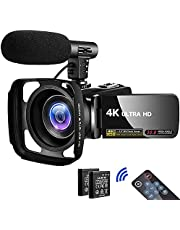 Camcorder HD 4K 30MP Digital Camcorder Camera with Microphone Vlogging Camcorder with Remote Control,3 in Touch Screen