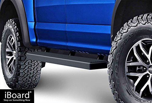 APS iBoard (Black Powder Coated 5 inches) Running Boards | Nerf Bars | Side Steps | Step Rails for 2015-2019 Ford F150 SuperCrew Cab Pickup 4-Door / 2017-2019 Ford F-250/F-350 Super Duty