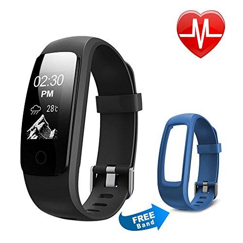 Fitness Tracker HR, Letsfit Fitness Armband mit Pulsmesser,IP 67 Wasserdicht smart Aktivitätstracker Schrittzähler, Kalorienzähler Sport Uhr Fitness Uhr mit einem Ersatzarmband für iOS und Android