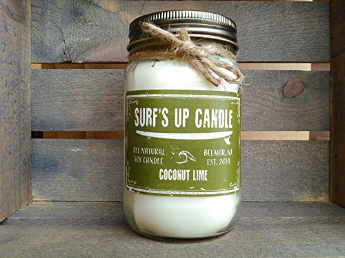 Surfs Up Candle Coconut Lime 16oz All Natural Soy Candle