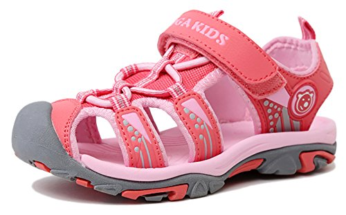 Poppin Kicks Boys' & Girls' Quick Dry Closed Toe Water Sandals Pink 1 M US Little Kid (Little Girl Walking)