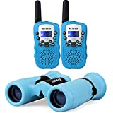 Retevis RT-388 Kids Walkie Talkie Long Range and SV16 8x21 Children Binoculars (Blue)