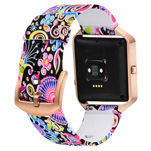 Aiseve Fitbit Blaze Floral Bands Women, Replacement Wristbands Strap with Rose Gold Frame Buckle for Fitbit Blaze Smartwatch Small Large (Peacock, Small)