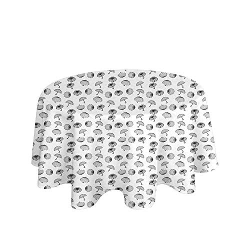 (Curioly Umbrella Printed Tablecloth Black and White Umbrellas Seen from Different Angles with Checkered Canopies Desktop Protection pad D51 Inch Black White)