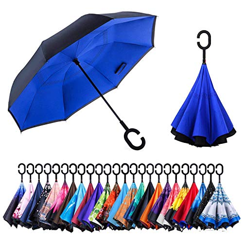 Newsight Reverse/Inverted Double-Layer Waterproof Straight Umbrellas, Self-Standing & C-Shape Handle & Carrying Bag for Free Hands, Inside-Out Folding for Car Users (Blue Idea)