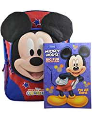 Disney Mickey Mouse Clubhouse Boys 3D Pop out 16 Backpack w/ Bonus Coloring Book