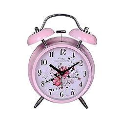 Retro Flowers Twin Bell Alarm Clock Pink 4