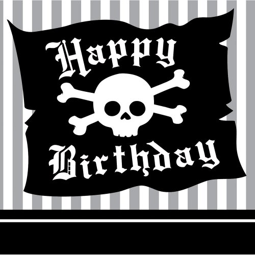 16-Count Paper Beverage Napkins, Pirate Parrty Happy - Lunch Napkins Pirate