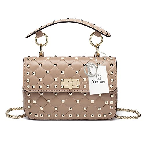 Yoome Genuine Leather Quilted Shoulder Bag Chain Purse Mini Clutch with Bling Rivets Top Handle -