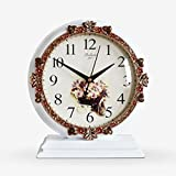 HAOFAY European-style Living Room Retro White Desktop Clock, Rustic Garden Clock Desk and Shelf Clock