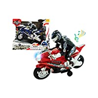 """Papa N Me Store 8.5"""" Friction Powered Toy Motorcycle with Sound & Light(Color May Vary)"""