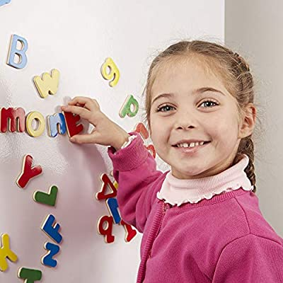 Melissa & Doug 52 Wooden Alphabet Magnets in a Box - Uppercase and Lowercase Letters: Toys & Games