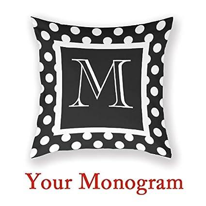 Amazon AntoniaDay Custom Monogram Pillow Black Monogrammed Cool Monogrammed Decorative Pillows