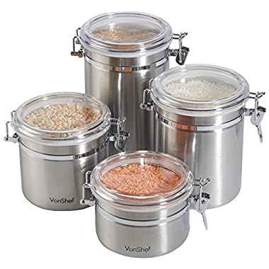 Vonshef Clip Top Jars 4 Piece Coffee Tea Storage Canister Set Stainless Steel Jars